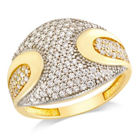 Forever Last Sterling Silver Gold Plated Pave Ring
