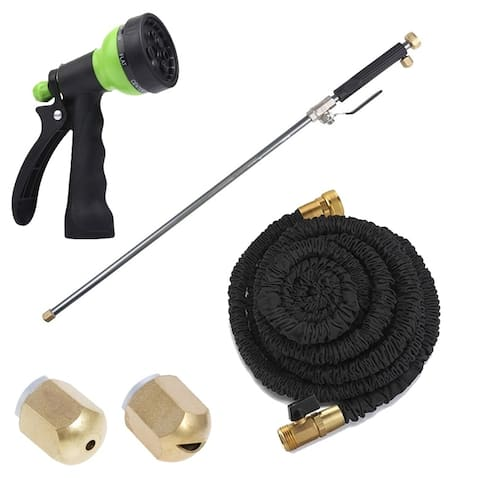 Xhose 75FT PRO Expandable Hose with 7 Pattern Nozzle and Power Wash Water Jet