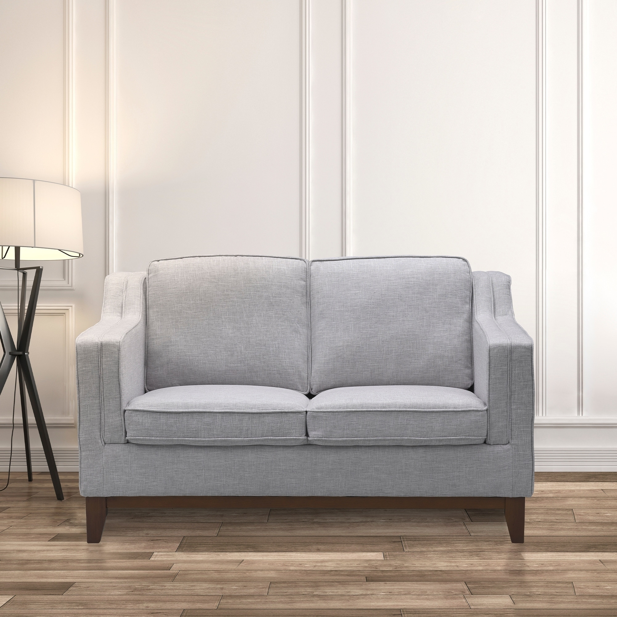 Prime Kramer Modern Loveseat In Walnut Finish With Light Gray Fabric N A Bralicious Painted Fabric Chair Ideas Braliciousco