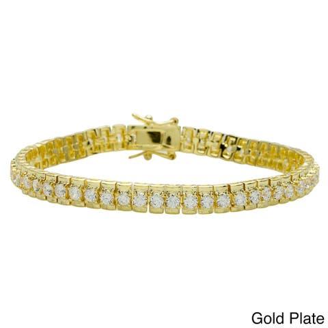 Cubic Zirconia Tennis Bracelet Silver/Gold Overlay by Simon Frank Designs