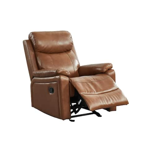 Tucker Leather Pillowtop Glider Recliner