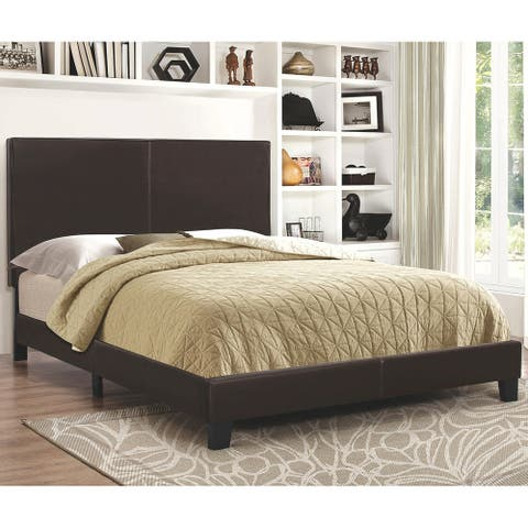 Chic Modern Design Brown Leatherette Upholstered Bed