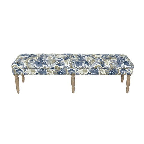 HomePop Layla Bench - Blue and Tan Floral