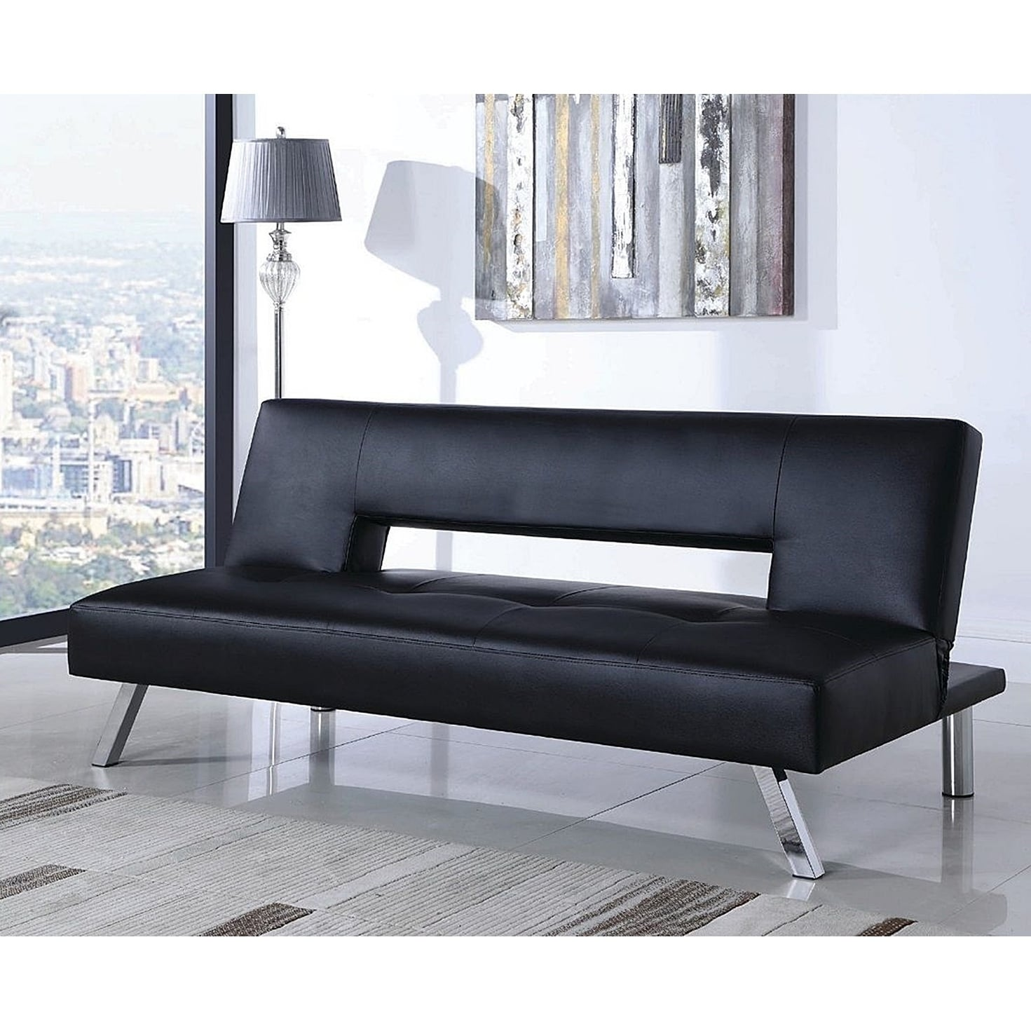 Alten Black Leather Upholstered Tufted Sofa Bed with Chrome Legs