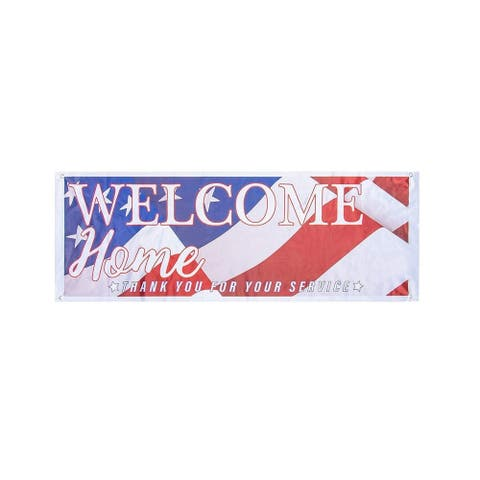 Welcome Home Sign Banner 2pcs American Flag Decorations for Military Army 62x22