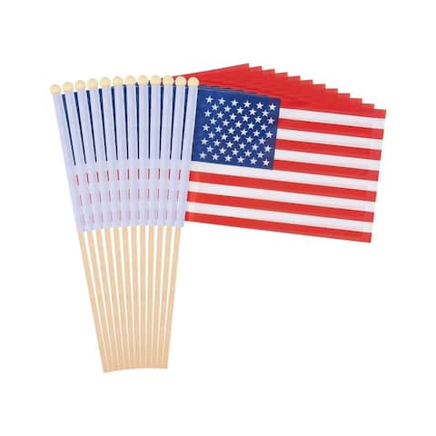"""12-Piece US American Stick Hand-held Flags Polyester Country Banners, 5.5x8.3"""""""