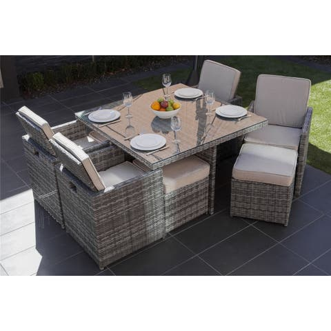 9 seats outdoor and indoor double-purpose rattan wicker sofa dinner table and chair - N/A