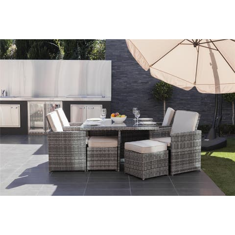 Direct Wicker 9 PCS Patio Wicker Furniture Dining Set with Cushions - N/A