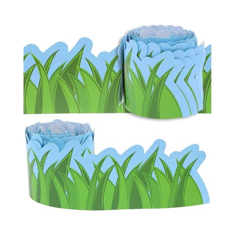 """12-Pack Bulletin Board Grass Scalloped Border Decoration For Classroom, 3x36"""""""