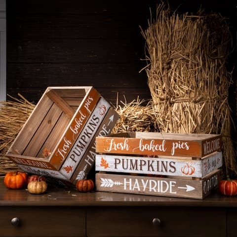 The Gray Barn Wooden Pumpkin Crates (Set of 2)