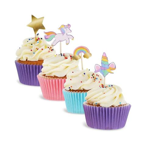 Juvale 200-Pack Rainbow Unicorn Cupcake Party Topper Picks Decorations 4 Designs