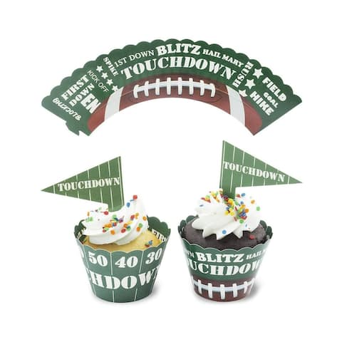 Juvale 50-Sets Football Cupcake Toppers and Wrappers for Sports Party Décor