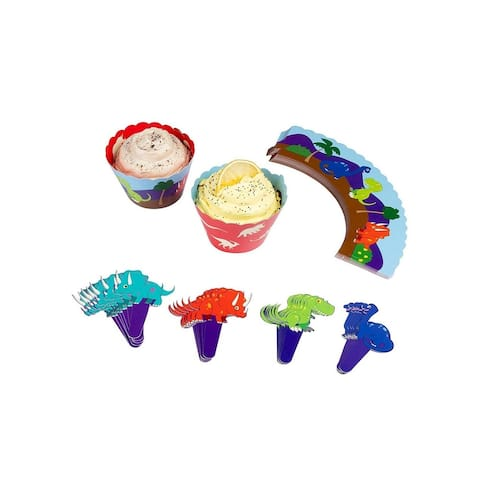 Juvale Kids Dino Cupcake Wrappers and Toppers - 50-Set Birthday Party Supplies