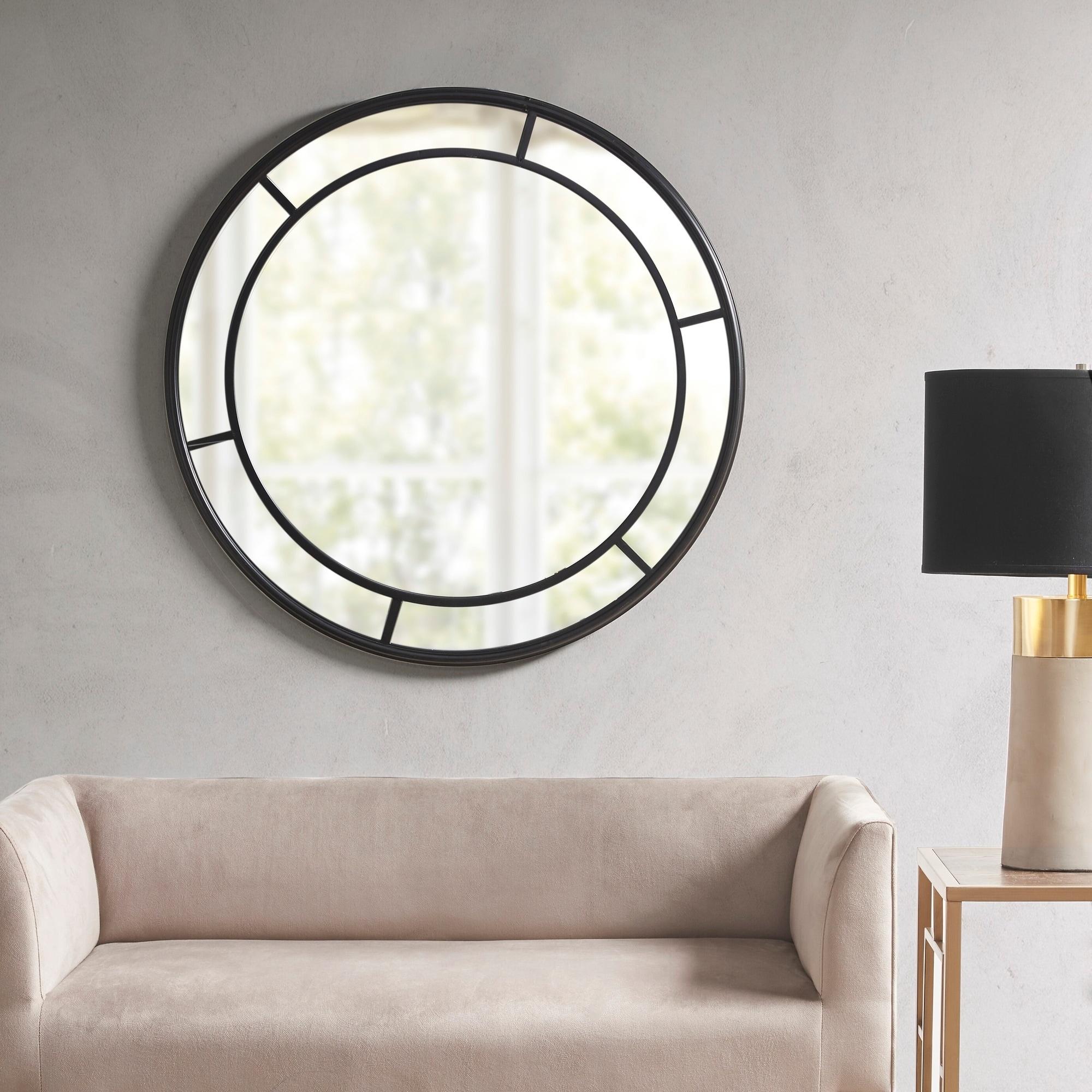 Martha Stewart Katonah Matte Black Round Accent Mirror Overstock 28675616