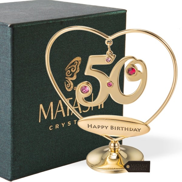 """24K Gold Plated Beautiful 50th """"Happy Birthday"""" Heart Table Top Ornament Made with Genuine Matashi Crystals"""