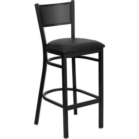 Offex Black Grid Back Metal Restaurant Bar Stool with Black Vinyl Seat [OFX-90078-FF] - N/A
