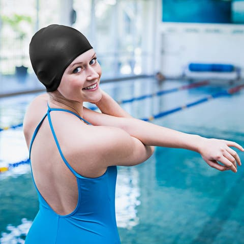 Silicone Swim Cap Water Resistant Swimming Cap with Ergonomic Ear Pockets and Great Elasticity for Teenagers and Adults