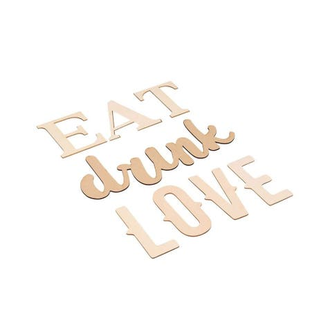 Wood Quote Signs - Eat Drink Love Wood Letter Signs, Drawing Stencil Included