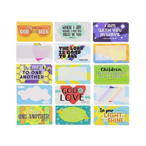 60-Pack Kids Motivational Religious Lunch Box Note Cards with Bible Verses