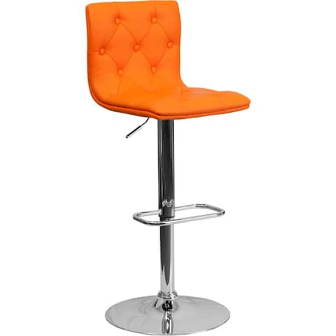 Offex Contemporary Tufted Orange Vinyl Adjustable Height Bar Stool with Chrome Base [OFX-124441-FF] - N/A
