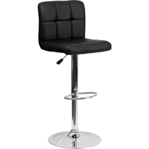 Offex Contemporary Black Quilted Vinyl Adjustable Height Bar Stool with Chrome Base [OFX-124454-FF] - N/A