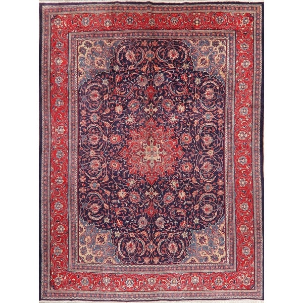 """Mahal Oriental Medallion Vintage Hand Knotted Wool Persian Area Rug - 12'8"""" x 9'7"""""""