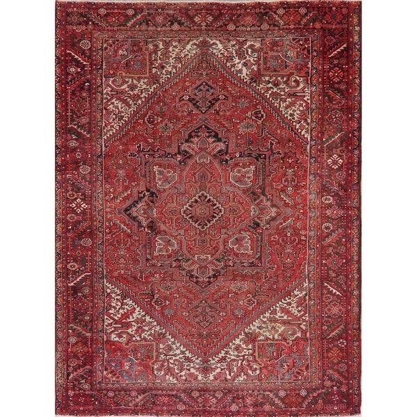 "Heriz Oriental Abrash Tribal Antique Hand Knotted Persian Area Rug - 12'10"" x 9'6"""