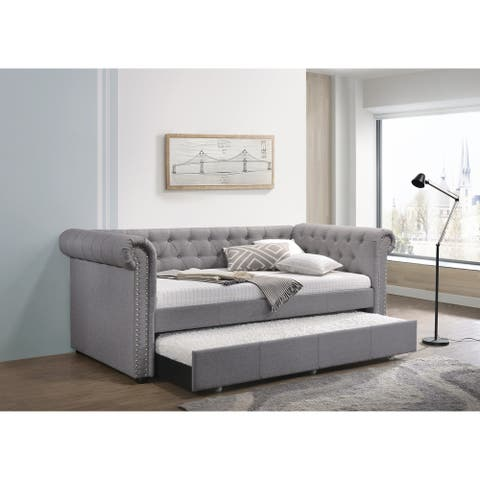 ACME Justice Daybed & Trundle (Twin Size) in Smoke Gray Fabric