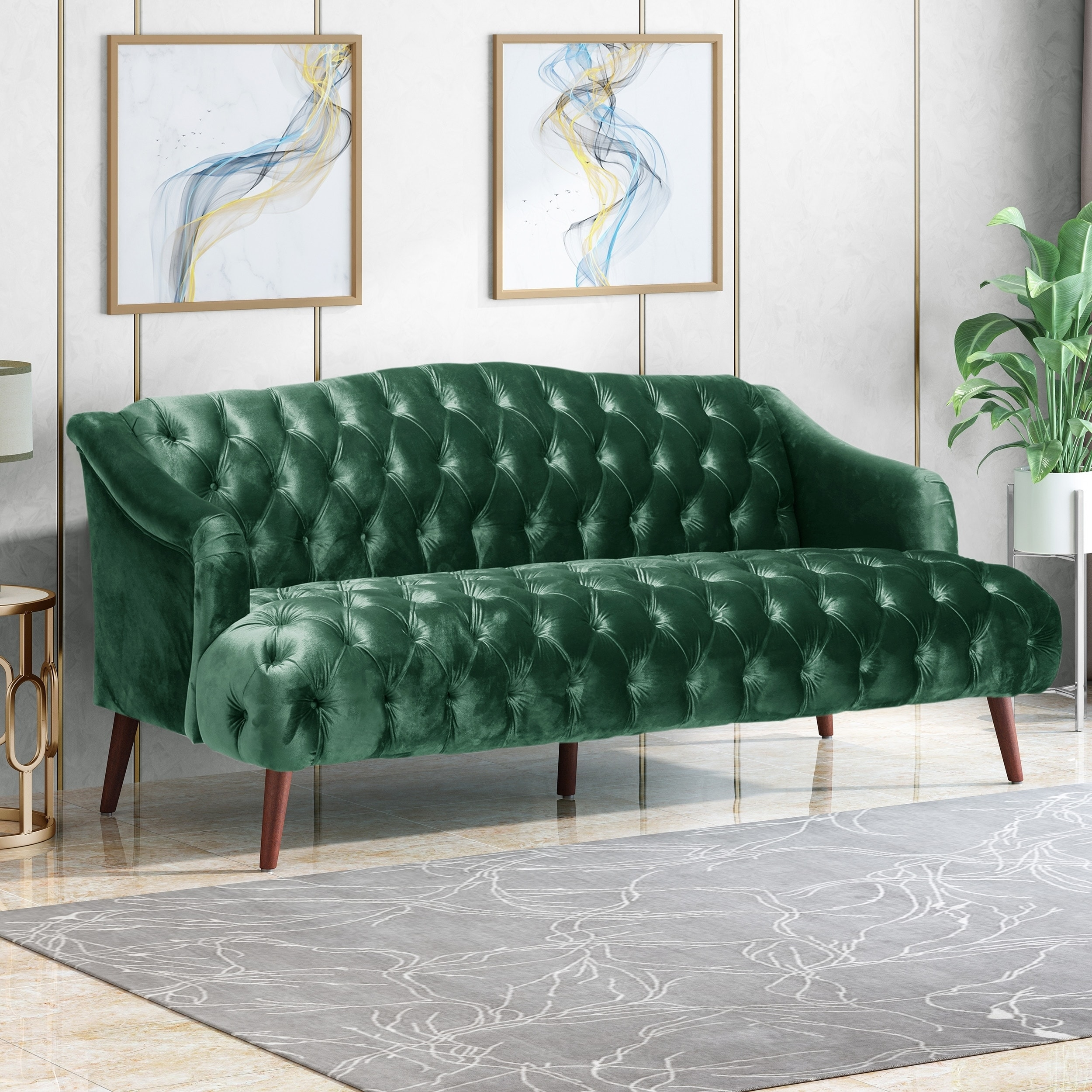 Adelia Modern Glam Tufted Velvet 3 Seater Sofa By Christopher Knight Home On Sale Overstock 28676368