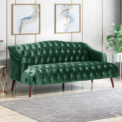 Adelia Modern Glam Tufted Velvet 3 Seater Sofa by Christopher Knight Home