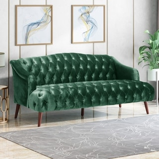 Link to Adelia Modern Glam Tufted Velvet 3 Seater Sofa by Christopher Knight Home Similar Items in Sleeper Sofas