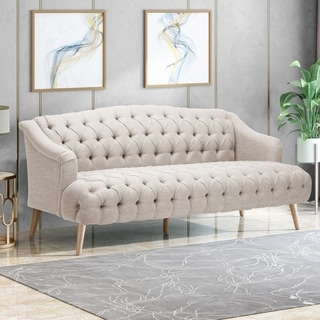 Link to Adelia Contemporary 3 Seater Tufted Fabric Sofa by Christopher Knight Home Similar Items in Sofas & Couches