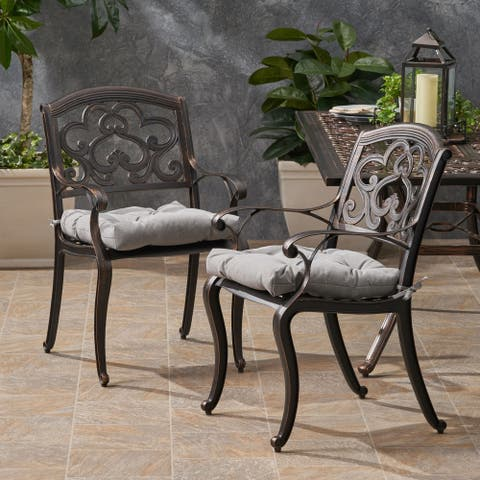 Austin Outdoor Aluminum Dining Chair with Cushion (Set of 2) by Christopher Knight Home