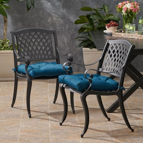 Cayman Outdoor Aluminum Dining Chair with Cushion (Set of 2) by Christopher Knight Home