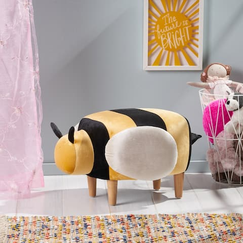 Jerome Velvet Bumble Bee Ottoman by Christopher Knight Home