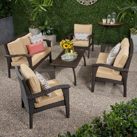Honolulu Outdoor 6 Seater Wicker Chat Set with Cushions by Christopher Knight Home