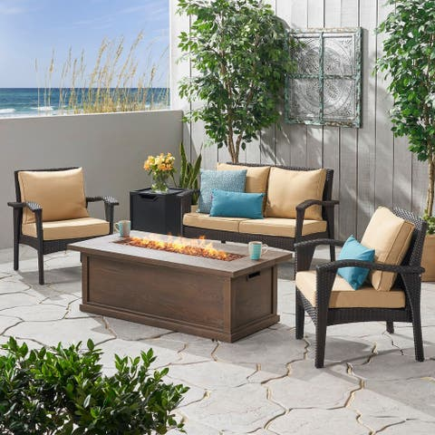 Honolulu Outdoor 4 Seater Wicker Chat Set with Fire Pit by Christopher Knight Home