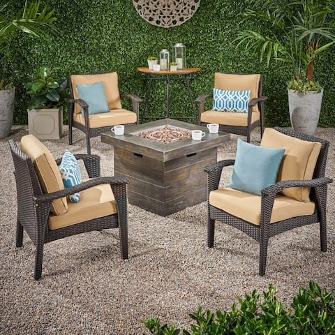 Keana Outdoor Wicker 4 Club Chair Chat Set with Fire Pit by Christopher Knight Home