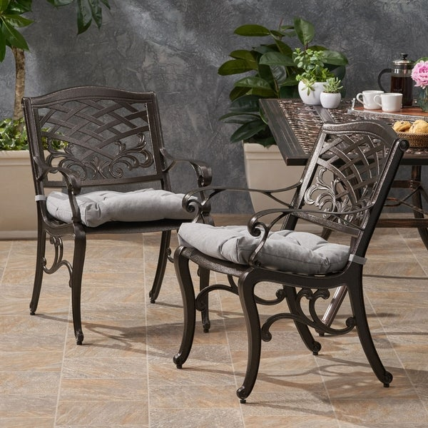 Poway Outdoor Aluminum Dining Chair with Cushion (Set of 2) by Christopher Knight Home. Opens flyout.