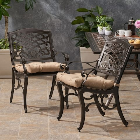 Poway Outdoor Aluminum Dining Chair with Cushion (Set of 2) by Christopher Knight Home