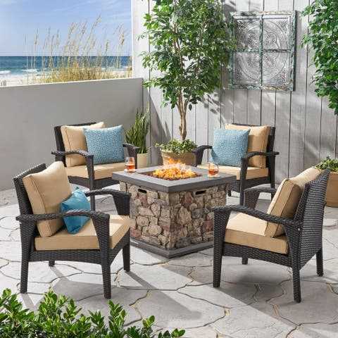 Kanihan Outdoor Wicker 4 Club Chair Chat Set with Fire Pit by Christopher Knight Home