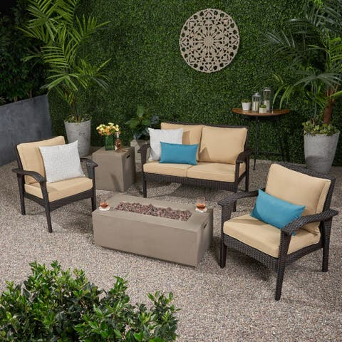 Kalo Outdoor 4 Seater Wicker Chat Set with Fire Pit by Christopher Knight Home