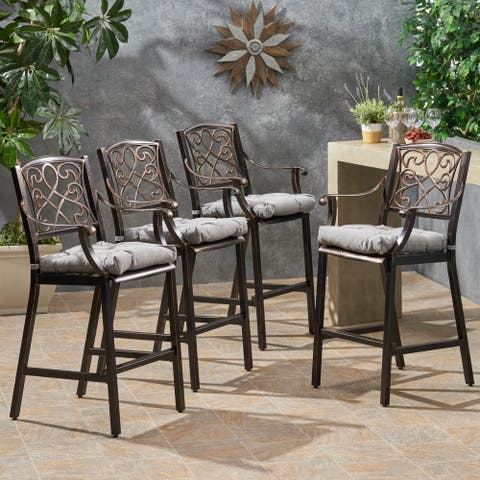 Waterbury Outdoor Aluminum Barstool with Cushion (Set of 4) by Christopher Knight Home