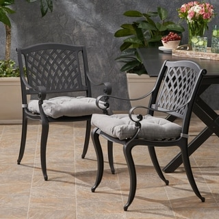 Estella Outdoor Aluminum Dining Chair with Cushion (Set of 2) by Christopher Knight Home