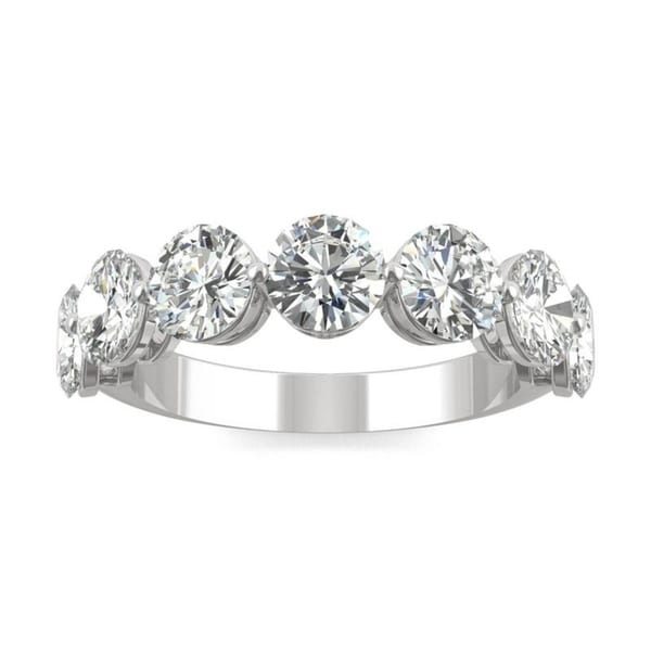 Moissanite by Charles & Colvard 14k White Gold Seven Stone Band 3.50 TGW. Opens flyout.