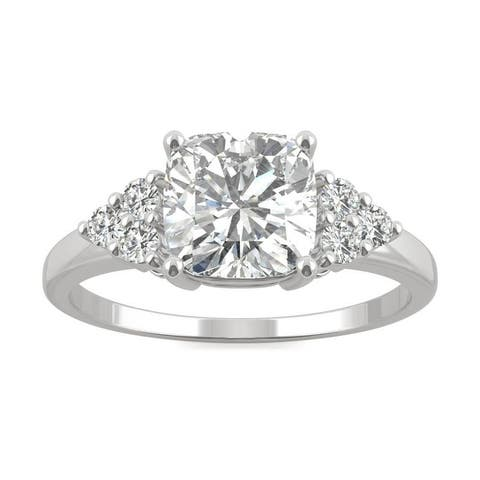 Moissanite by Charles & Colvard 14k White Gold Cushion Engagement Ring 1.88 TGW