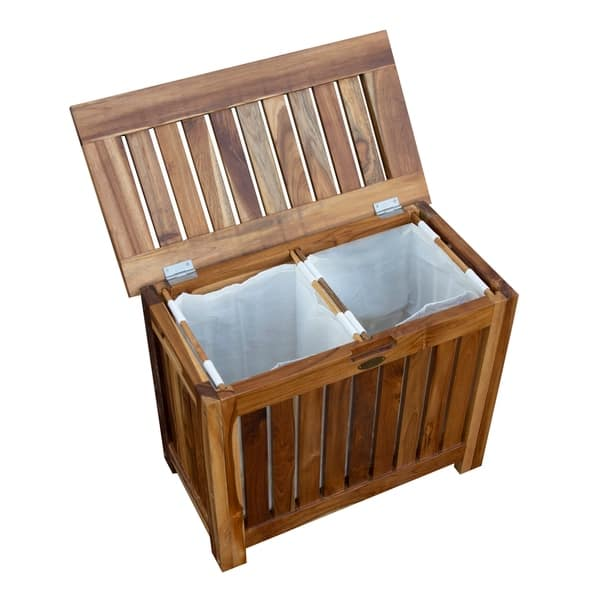 Marvelous Shop Ecodecors Solid Teak Slatted Bench Hamper With Laundry Creativecarmelina Interior Chair Design Creativecarmelinacom