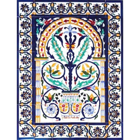 Arabesque Design Ceramic 48 Tiles Mosaic Wall Mural Panel