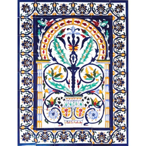 Arabesque Design Ceramic 48 Tiles Mosaic Wall Mural Panel