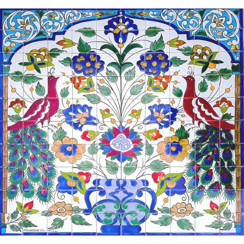 Peacock Mural Ceramic 100 Tiles Mosaic Wall Panel